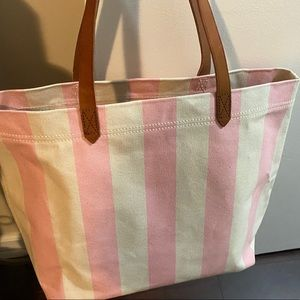 Madewell canvas transport tote bag NWOT pink white